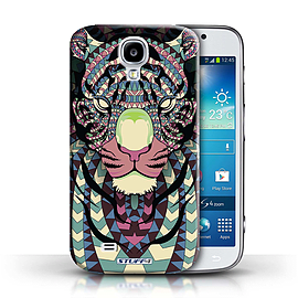 STUFF4 Phone Case/Cover for Samsung Galaxy S4/SIV/Tiger-Colour Design/Aztec Animal Design Mobile phones