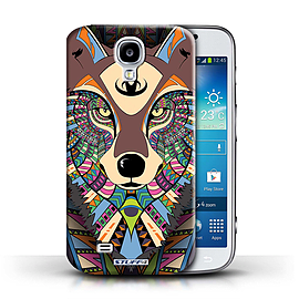STUFF4 Phone Case/Cover for Samsung Galaxy S4/SIV/Wolf-Colour Design/Aztec Animal Design Mobile phones