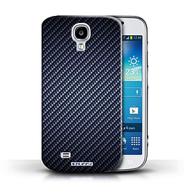 STUFF4 Phone Case/Cover for Samsung Galaxy S4/SIV/Blue Design/Carbon Fibre Effect/Pattern Mobile phones