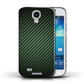 STUFF4 Phone Case/Cover for Samsung Galaxy S4/SIV/Green Design/Carbon Fibre Effect/Pattern Mobile phones