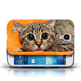 STUFF4 Phone Case/Cover for Samsung Galaxy S4/SIV/Big Eye Cat Design/Funny Animals Mobile phones