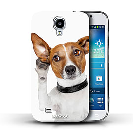 STUFF4 Phone Case/Cover for Samsung Galaxy S4/SIV/Listening Dog Design/Funny Animals Mobile phones