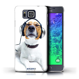 STUFF4 Phone Case/Cover for Samsung Galaxy Alpha/Chillin Headphone Dog Design/Funny Animals Mobile phones