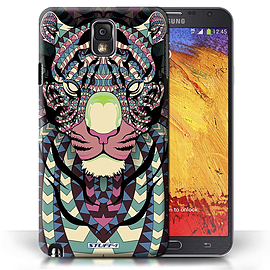 STUFF4 Phone Case/Cover for Samsung Galaxy Note 3/Tiger-Colour Design/Aztec Animal Design Mobile phones