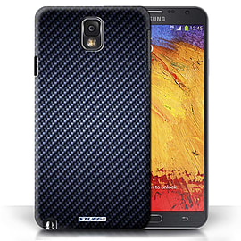 STUFF4 Phone Case/Cover for Samsung Galaxy Note 3/Blue Design/Carbon Fibre Effect/Pattern Mobile phones