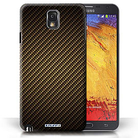 STUFF4 Phone Case/Cover for Samsung Galaxy Note 3/Gold Design/Carbon Fibre Effect/Pattern Mobile phones