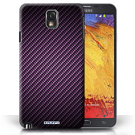 STUFF4 Phone Case/Cover for Samsung Galaxy Note 3/Purple Design/Carbon Fibre Effect/Pattern Mobile phones