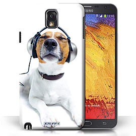 STUFF4 Phone Case/Cover for Samsung Galaxy Note 3/Chillin Headphone Dog Design/Funny Animals Mobile phones