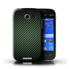 STUFF4 Phone Case/Cover for Samsung Galaxy Pocket 2/Green Design/Carbon Fibre Effect/Pattern Mobile phones