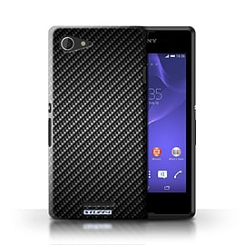 STUFF4 Phone Case/Cover for Sony Xperia E3/Grey Design/Carbon Fibre Effect/Pattern Mobile phones