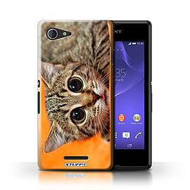 STUFF4 Phone Case/Cover for Sony Xperia E3/Big Eye Cat Design/Funny Animals Mobile phones