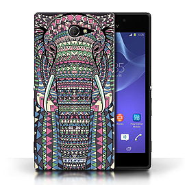 STUFF4 Phone Case/Cover for Sony Xperia M2/Elephant-Colour Design/Aztec Animal Design Mobile phones