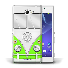 STUFF4 Phone Case/Cover for Sony Xperia M2/Green Design/VW Camper Van Mobile phones