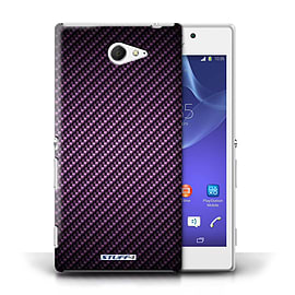 STUFF4 Phone Case/Cover for Sony Xperia M2/Purple Design/Carbon Fibre Effect/Pattern Mobile phones