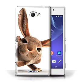 STUFF4 Phone Case/Cover for Sony Xperia M2/Peeking Bunny Design/Funny Animals Mobile phones