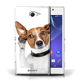STUFF4 Phone Case/Cover for Sony Xperia M2/Listening Dog Design/Funny Animals Mobile phones