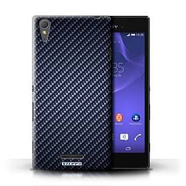 STUFF4 Phone Case/Cover for Sony Xperia T3/Blue Design/Carbon Fibre Effect/Pattern Mobile phones