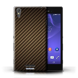 STUFF4 Phone Case/Cover for Sony Xperia T3/Gold Design/Carbon Fibre Effect/Pattern Mobile phones
