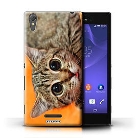 STUFF4 Phone Case/Cover for Sony Xperia T3/Big Eye Cat Design/Funny Animals Mobile phones