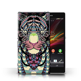 STUFF4 Phone Case/Cover for Sony Xperia Z1 Compact/Tiger-Colour Design/Aztec Animal Design Mobile phones