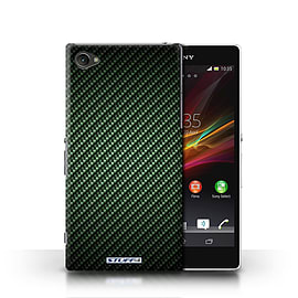 STUFF4 Phone Case/Cover for Sony Xperia Z1 Compact/Green Design/Carbon Fibre Effect/Pattern Mobile phones