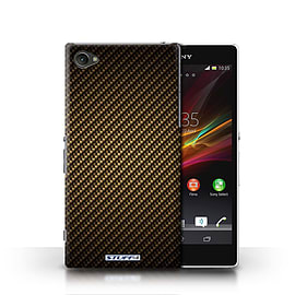 STUFF4 Phone Case/Cover for Sony Xperia Z1 Compact/Gold Design/Carbon Fibre Effect/Pattern Mobile phones