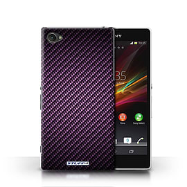 STUFF4 Phone Case/Cover for Sony Xperia Z1 Compact/Purple Design/Carbon Fibre Effect/Pattern Mobile phones