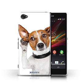 STUFF4 Phone Case/Cover for Sony Xperia Z1 Compact/Listening Dog Design/Funny Animals Mobile phones