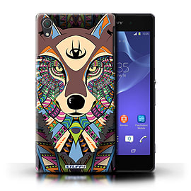STUFF4 Phone Case/Cover for Sony Xperia Z2/Wolf-Colour Design/Aztec Animal Design Mobile phones