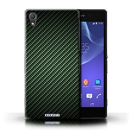 STUFF4 Phone Case/Cover for Sony Xperia Z2/Green Design/Carbon Fibre Effect/Pattern Mobile phones