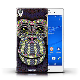 STUFF4 Phone Case/Cover for Sony Xperia Z3/Monkey-Colour Design/Aztec Animal Design Mobile phones
