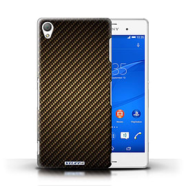 STUFF4 Phone Case/Cover for Sony Xperia Z3/Gold Design/Carbon Fibre Effect/Pattern Mobile phones