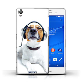 STUFF4 Phone Case/Cover for Sony Xperia Z3/Chillin Headphone Dog Design/Funny Animals Mobile phones