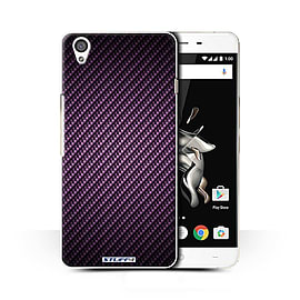 STUFF4 Phone Case/Cover for OnePlus X/Purple Design/Carbon Fibre Effect/Pattern Collection Mobile phones