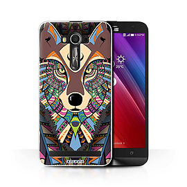STUFF4 Phone Case/Cover for Asus Zenfone 2 Laser ZE600KL/Wolf-Colour/Aztec Animal Collection Mobile phones