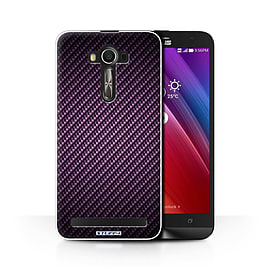 STUFF4 Phone Case/Cover for Asus Zenfone 2 Laser ZE600KL/Purple/Carbon Fibre Effect/Pattern Mobile phones