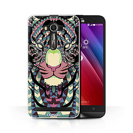 STUFF4 Phone Case/Cover for Asus Zenfone 2 Laser ZE601KL/Tiger-Colour/Aztec Animal Collection Mobile phones
