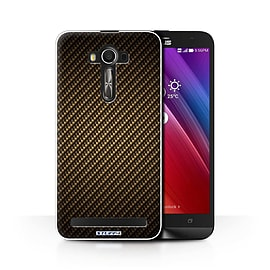 STUFF4 Phone Case/Cover for Asus Zenfone 2 Laser ZE601KL/Gold/Carbon Fibre Effect/Pattern Collection Mobile phones