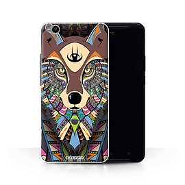 STUFF4 Phone Case/Cover for HTC One X9/Wolf-Colour Design/Aztec Animal Design Collection Mobile phones