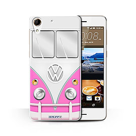 STUFF4 Phone Case/Cover for HTC Desire 728/Pink Design/VW Camper Van Collection Mobile phones