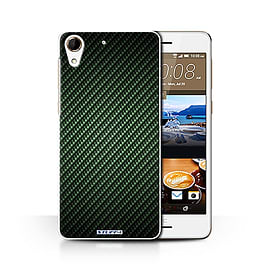 STUFF4 Phone Case/Cover for HTC Desire 728/Green Design/Carbon Fibre Effect/Pattern Collection Mobile phones