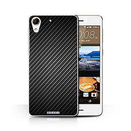 STUFF4 Phone Case/Cover for HTC Desire 728/Grey Design/Carbon Fibre Effect/Pattern Collection Mobile phones