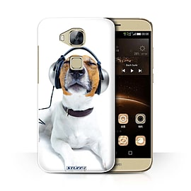 STUFF4 Phone Case/Cover for Huawei G7 Plus/Chillin Headphone Dog Design/Funny Animals Collection Mobile phones