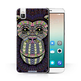 STUFF4 Phone Case/Cover for Huawei Honor 7i/ShotX/Monkey-Colour/Aztec Animal Collection Mobile phones