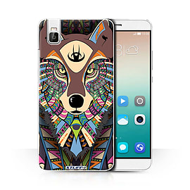 STUFF4 Phone Case/Cover for Huawei Honor 7i/ShotX/Wolf-Colour Design/Aztec Animal Design Collection Mobile phones