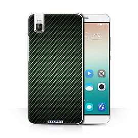 STUFF4 Phone Case/Cover for Huawei Honor 7i/ShotX/Green/Carbon Fibre Effect/Pattern Collection Mobile phones