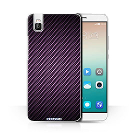 STUFF4 Phone Case/Cover for Huawei Honor 7i/ShotX/Purple/Carbon Fibre Effect/Pattern Collection Mobile phones