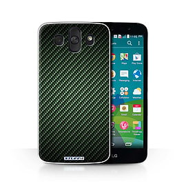 STUFF4 Phone Case/Cover for LG AKA/H788/Green Design/Carbon Fibre Effect/Pattern Collection Mobile phones