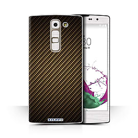 STUFF4 Phone Case/Cover for LG G4c/H525N/Gold Design/Carbon Fibre Effect/Pattern Collection Mobile phones
