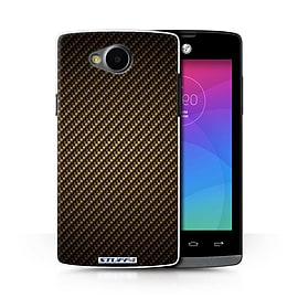 STUFF4 Phone Case/Cover for LG Joy/H220/Gold Design/Carbon Fibre Effect/Pattern Collection Mobile phones